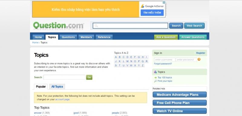 Giao diện của Question.com