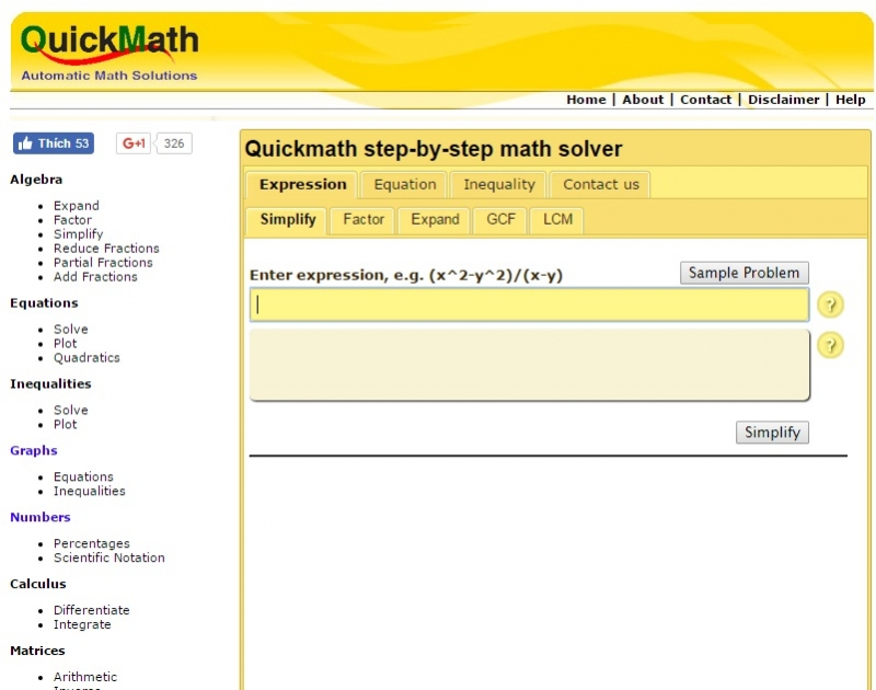 Website của QuickMath