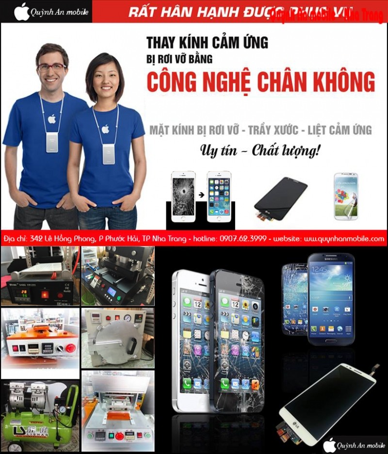 Quỳnh Anh Mobile - nơi ép kính, thay kính màn hình chuyên nghiệp