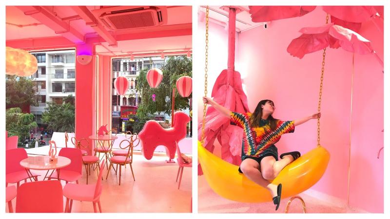 Mỗi mét vuông của quán đều được chăm chút bởi tông hồng pastel ngọt ngào