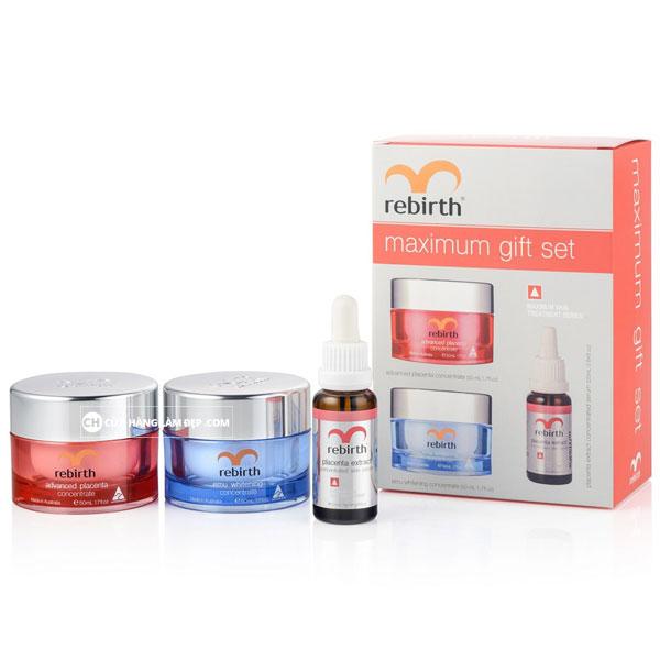 Bộ kem - serum trị nám, tàn nhang, trắng da Rebirth Maximum gift set