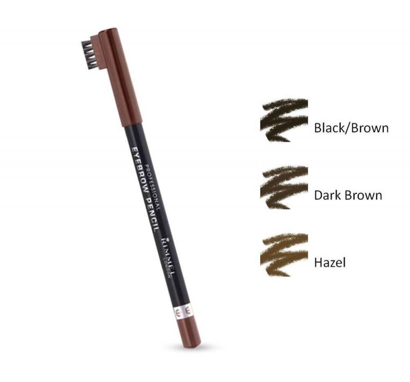 Dòng bút kẻ mày của Rimmel London được sản xuất với 3 tone màu chính là: hạt dẻ (Hazel), nâu đen (Black Brown), nâu đậm (Dark Brown).