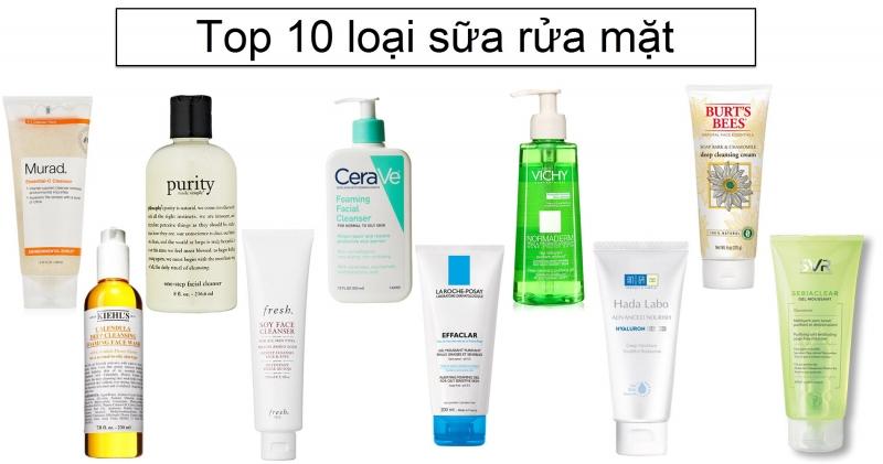 10 loại sữa rửa mặt được yêu thích