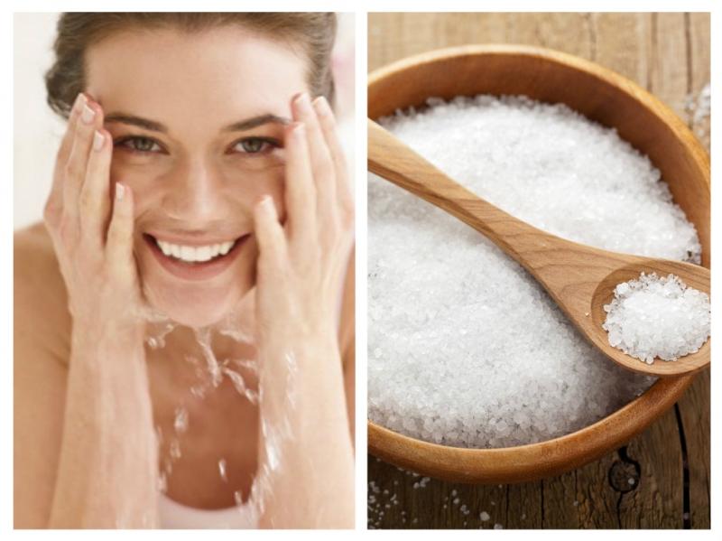 Rửa sạch da mặt bằng nước muối biển