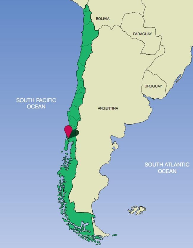 Vị trí rừng Valdivian (phần màu xanh)