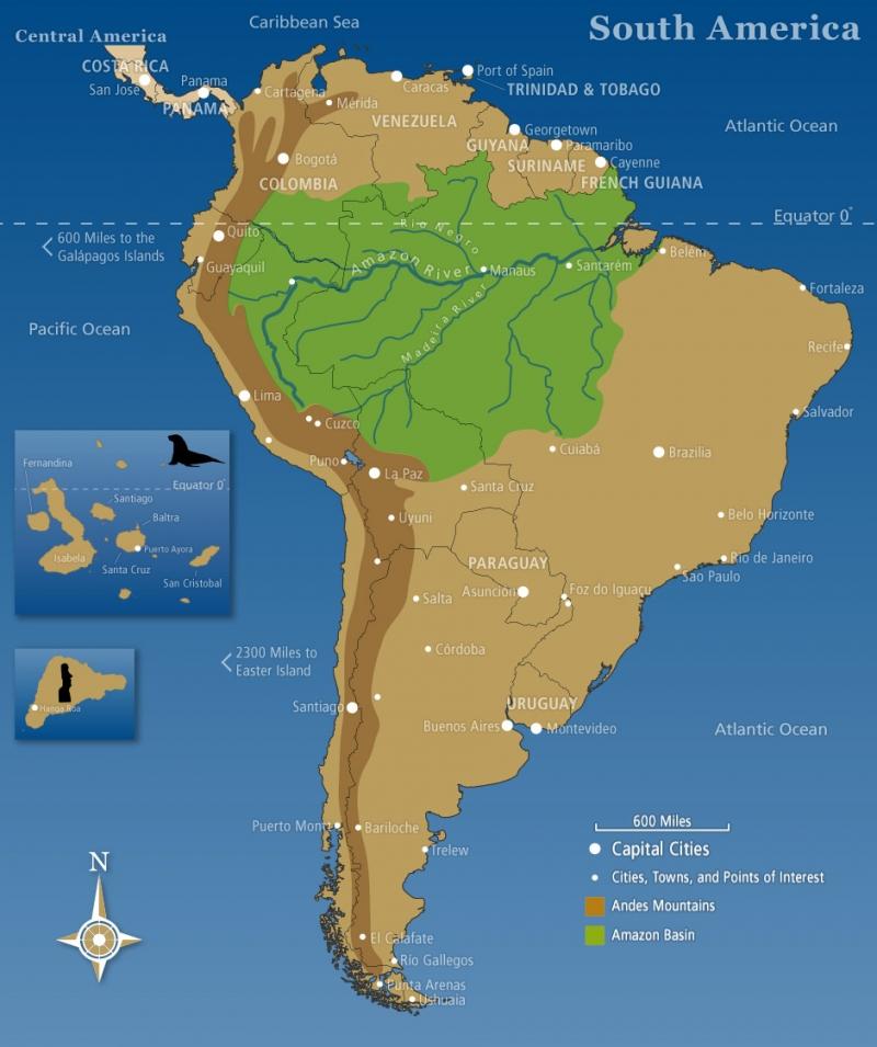 Bản đồ rừng Amazon trên lục địa Nam Mỹ (phần màu xanh)