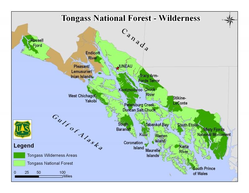 Vị trí rừng Tongass (phần màu xanh)