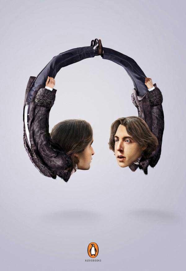 Chiếc tai nghe trong poster được cách điệu từ tác giả truyện Oscar Wilde.