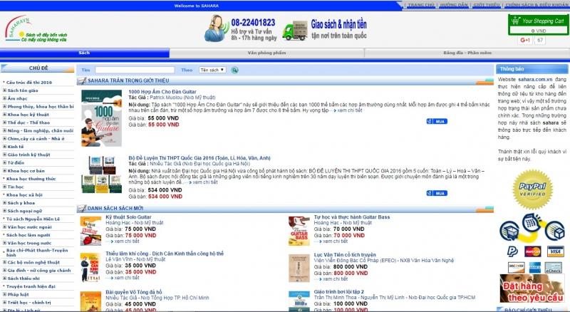 Giao diện của website sahara.com