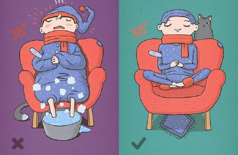 Cố gắng làm đổ mồ hôi bằng cách mặc thật nhiều quần áo khi bị sốt