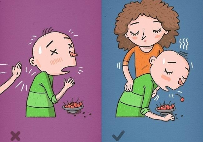 Cố gắng vỗ mạnh vào lưng khi ai đó bị nghẹn