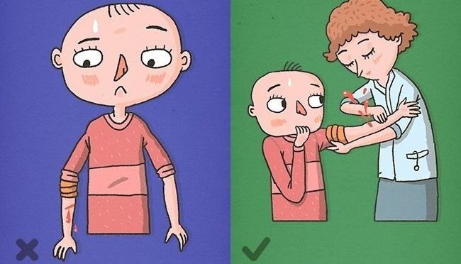 Cố gắng buộc chặt garo khi vết thương chảy máu động mạch