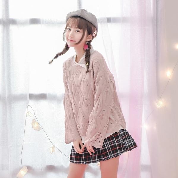 Áo len lỗ rỗng phong cách Mori girl Nhật Bản