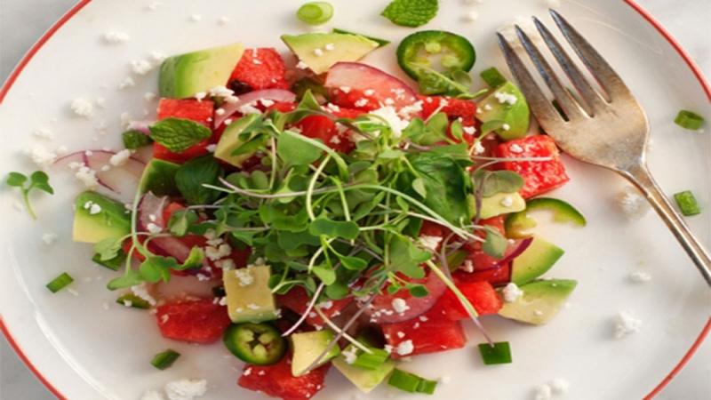 Salad dưa hấu rau mầm và bơ
