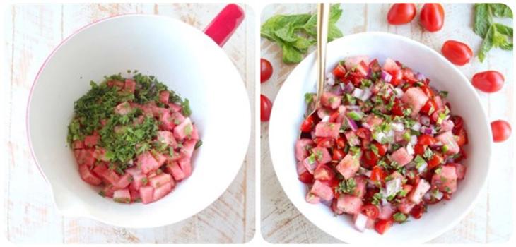 Salad dưa hấu và cà chua bi