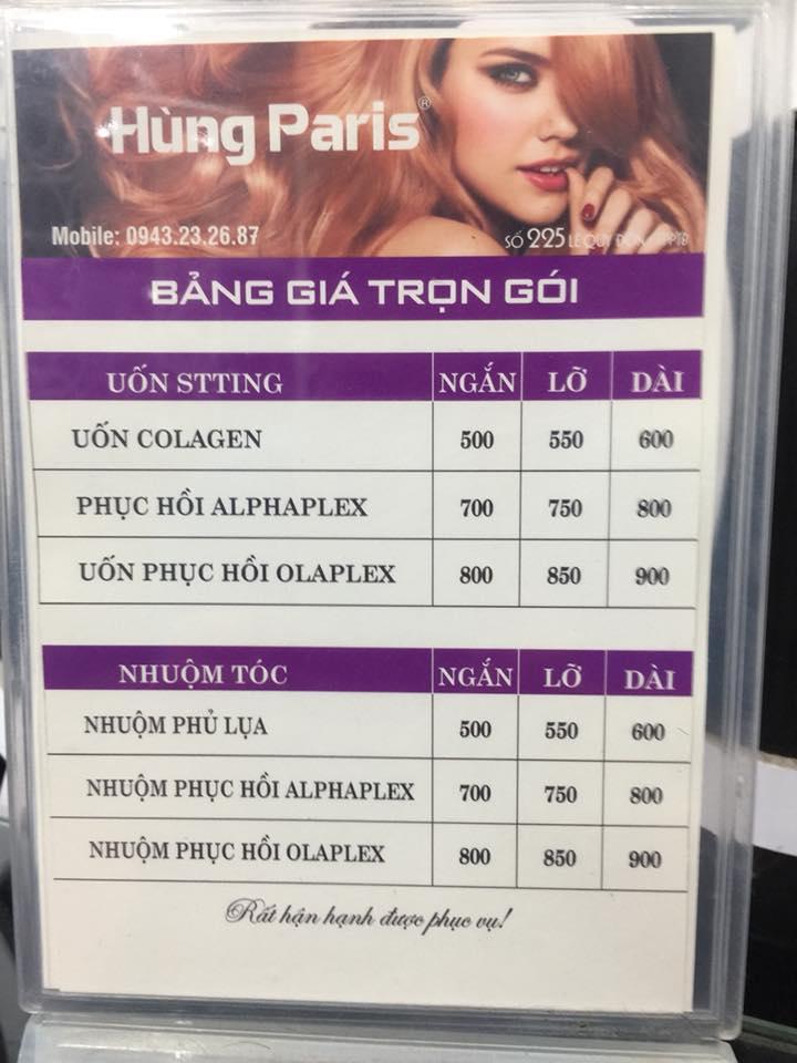 Bảng giá tại Salon Hùng Paris