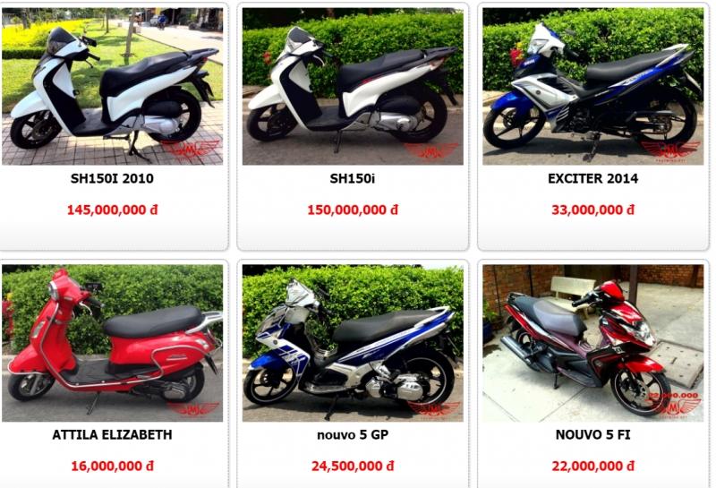 Giá bán một số loại xe cũ tại Phát Minh