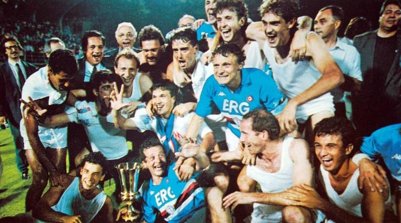 Các cầu thủ Sampdoria ăn mừng vô địch năm 1989