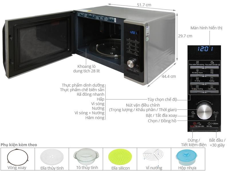 Thông số kỹ thuật Lò vi sóng Samsung MG28J5255US/SV 28 lít