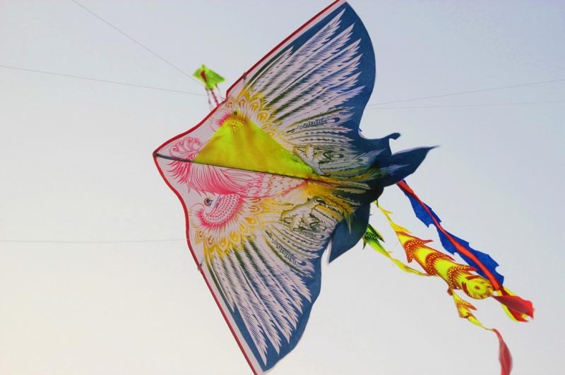 Hàng trăm cánh diều bay san sát nhau, người chơi phải khéo léo để diều không quấn vào nhau.