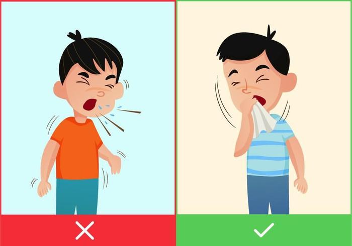 Dùng tay hoặc khăn che miệng khi hắt hơi hoặc ho