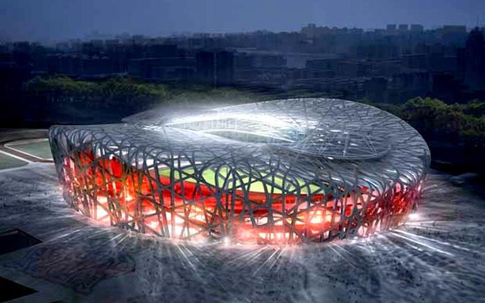Sân vận động Quốc gia Bắc Kinh nhìn từ trên cao