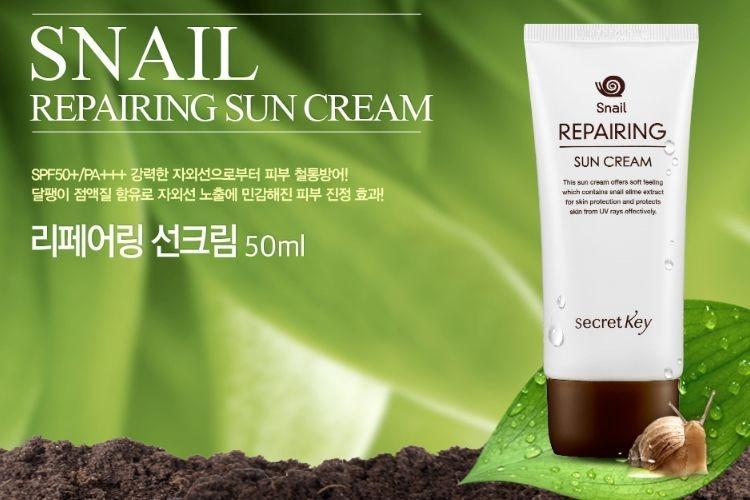 Secret Key Snail Repairing Sun Cream SPF50+ PA+++ là dòng kem chống nắng bình dân