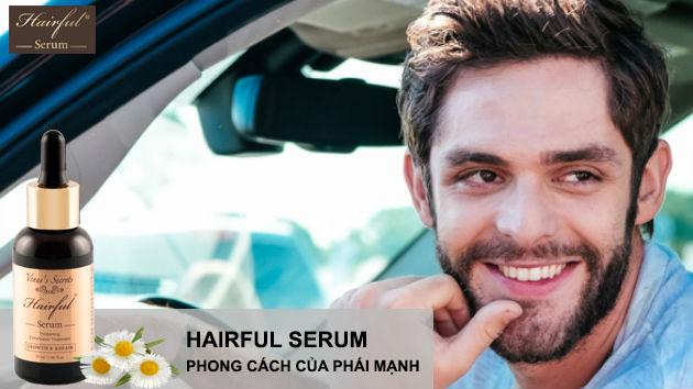 Serum mọc tóc Hairful, bên cạnh kích thích tóc mọc nhanh và dày hơn, sản phẩm còn giúp kích thích mọc râu cho nam giới, giúp phái mạnh thêm cá tính, mạnh mẽ