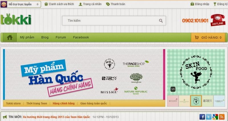 Giao diện website của shop