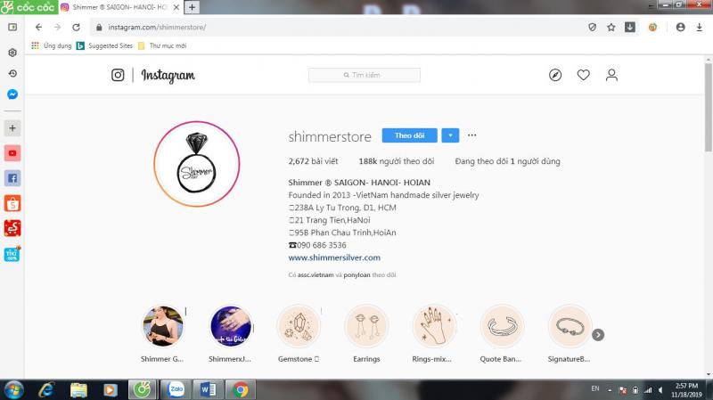 Kênh Instagram của Shimmer.
