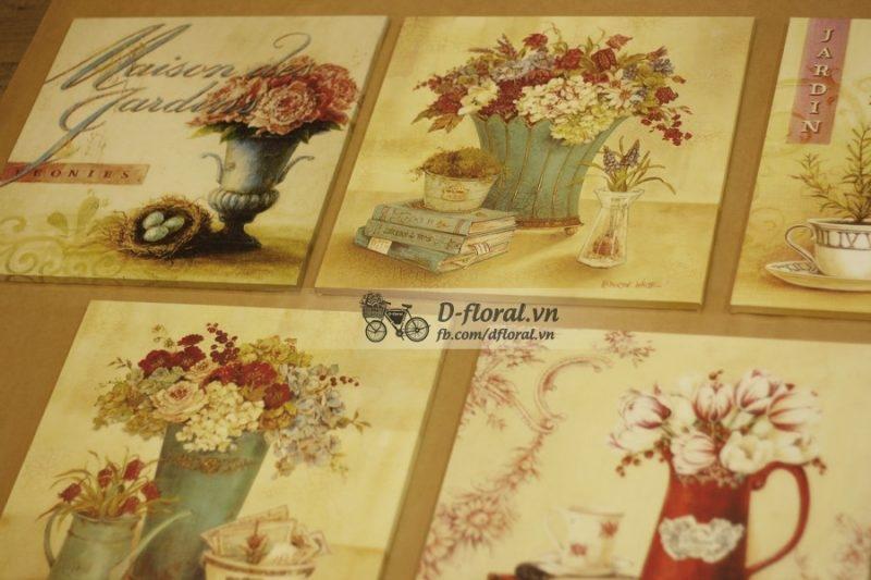 Tranh gỗ hoa văn vintage