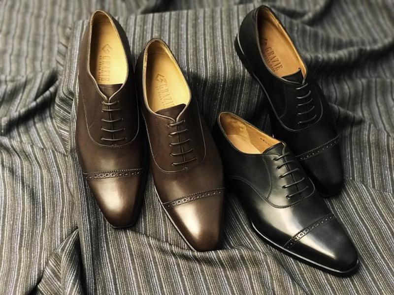 Grazie là thương hiệu giày tây, giày da nam cao cấp được sản xuất từ chất liệu da bò Ý, Pháp