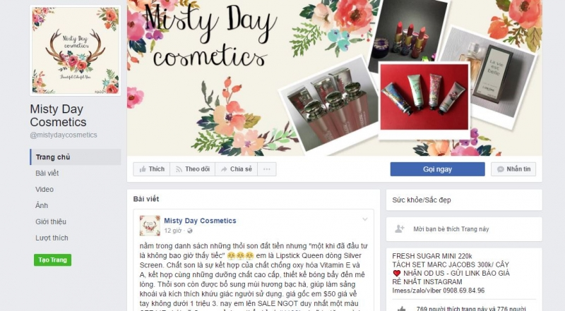 Trang Facebook của Misty Day Cosmetics