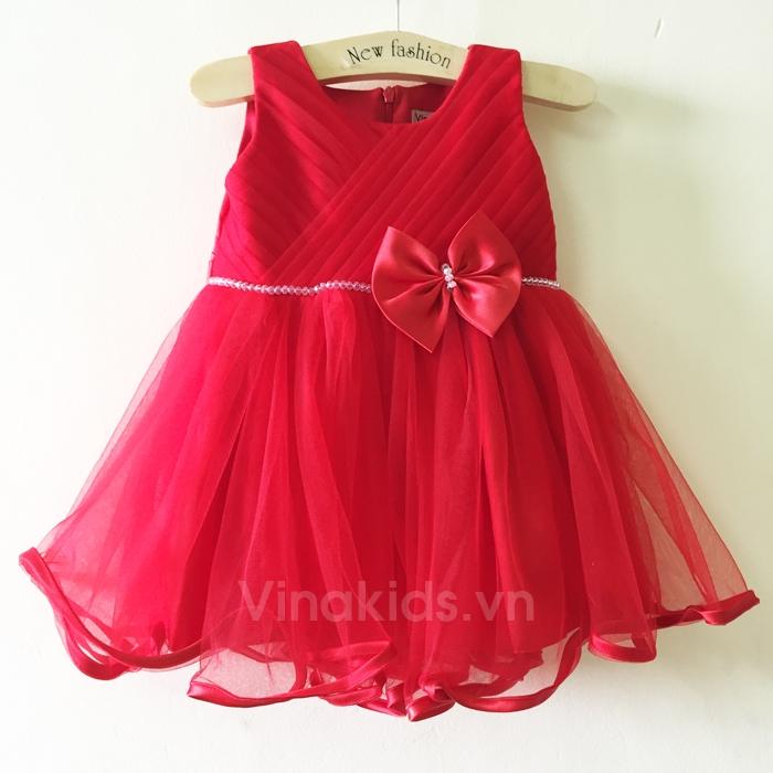 Váy bé gái đính nơ đỏ tại shop