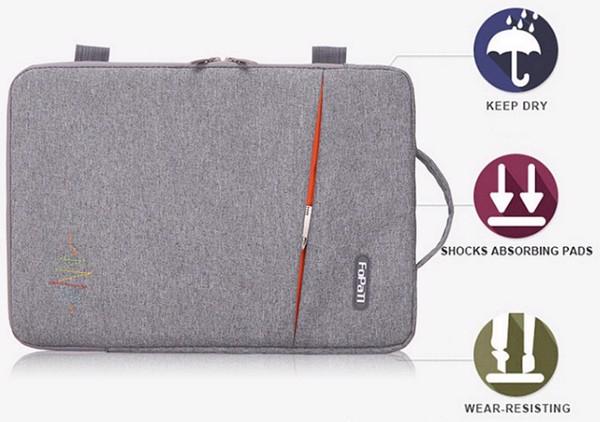 Túi chống sốc dày, chắc chắn với 2 lớp mút, bảo vệ 4 chiều cho laptop