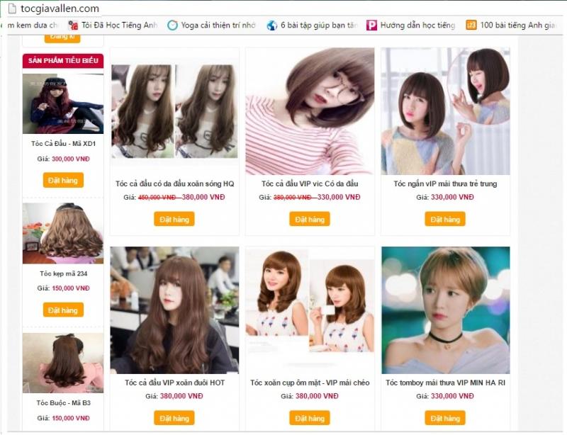 Website treo giá cho từng loại tóc giả