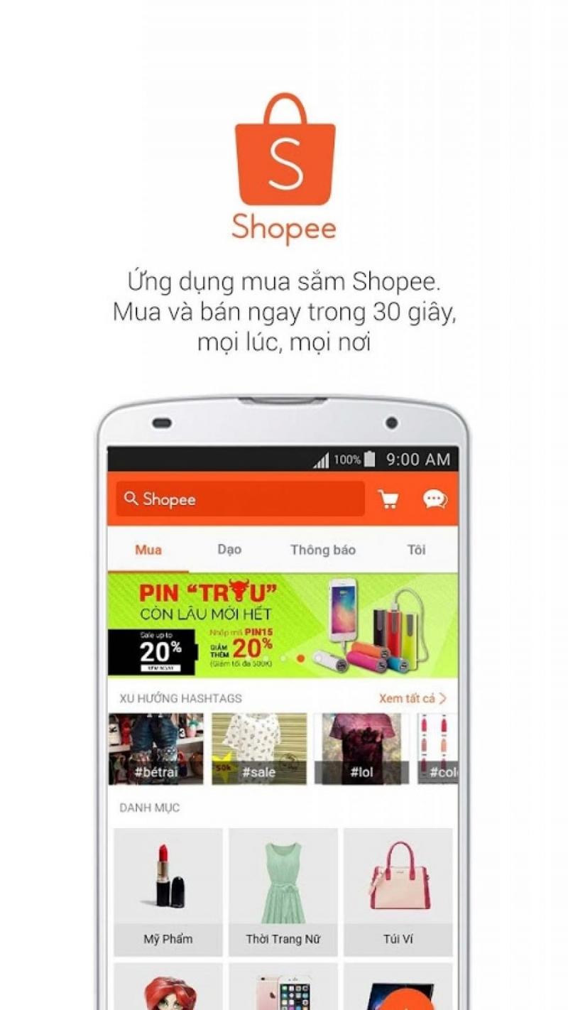 Giao diện app của Shopee.