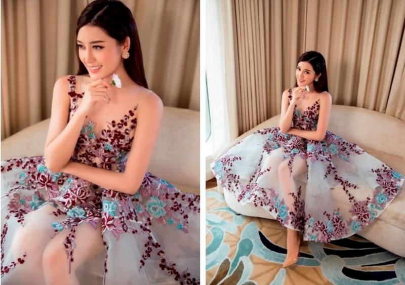 Á hậu Huyền My gợi cảm, sang trọng trong trang phục hoa của nhà thiết kế Lê Thanh Hòa (Nguồn: Website của Showroom Lê Thanh Hòa)