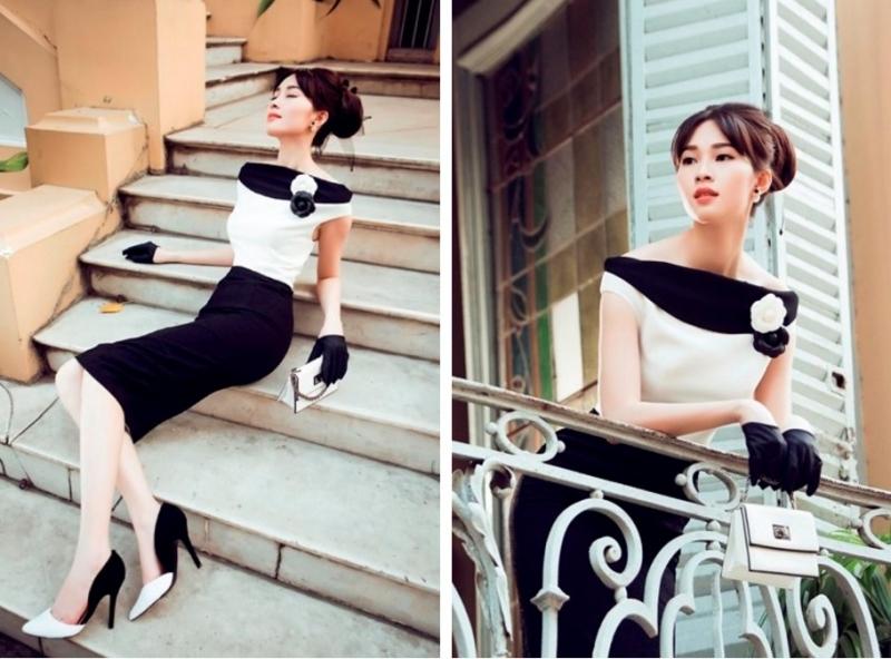 Hoa hậu Việt Nam Đặng Thu Thảo sang trọng, thanh lịch (Nguồn: Website của Showroom Lê Thanh Hòa)