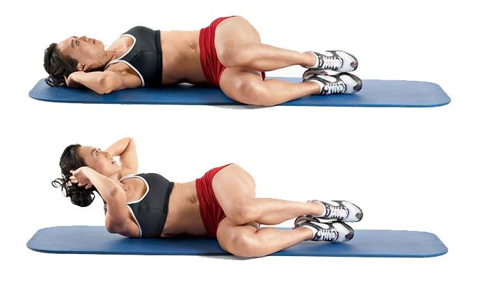 Với bài tập Side Crunch này, chân sẽ được đặt nằm nghiêng
