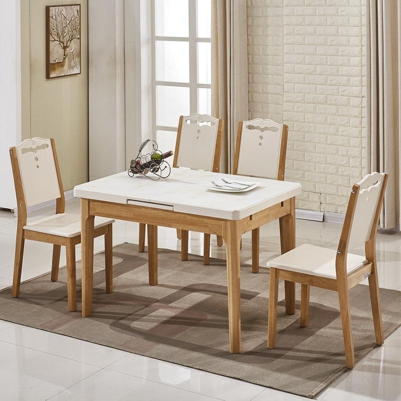 Bôn bàn ăn gỗ sang trọng với mặt bàn kính