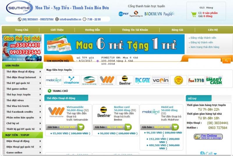 Sieuthithe.vn hỗ trợ khá nhiều các dịch vụ như mua thẻ, nạp thẻ, thanh toán hóa đơn,...
