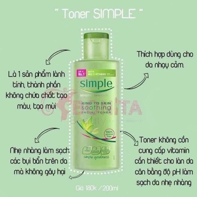 Toner Simple với những thành phần lành tính, thích hợp cho mọi loại da