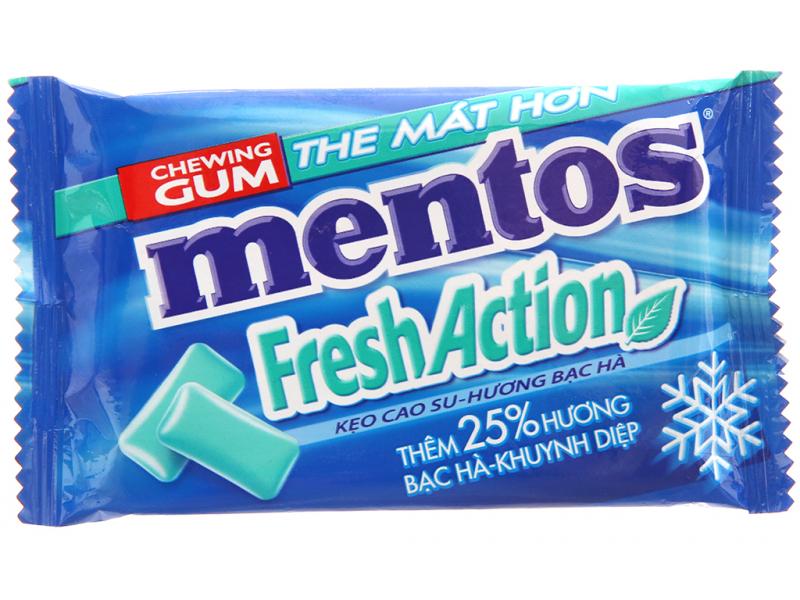 Kẹo cao su Mentos là loại kẹo cao su có vị bạc hà the mát kết hợp với nhân trà xanh độc đáo sẽ đánh thức mọi giác quan trong bạn