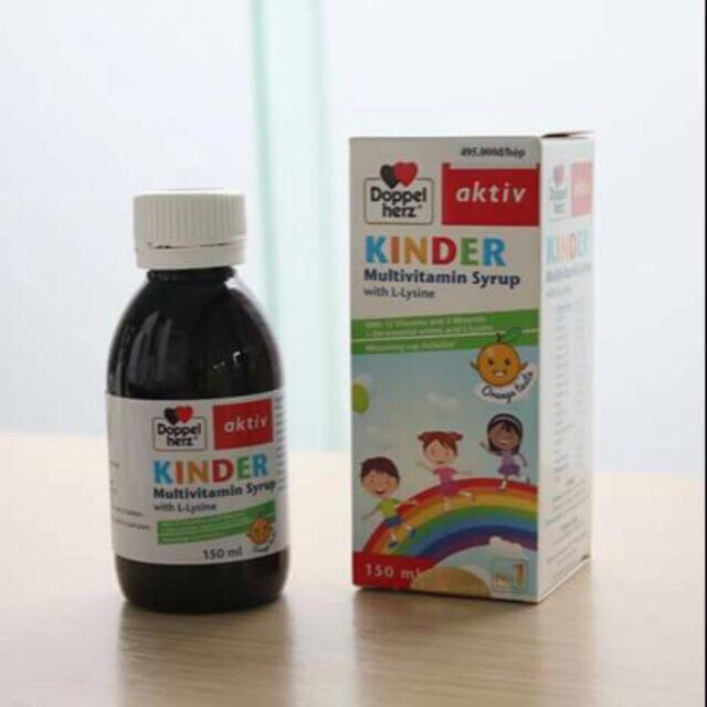 Siro ăn ngon Kinder Multivitamin với công thức ưu việt cung cấp 17 vitamin và khoáng chất với axit amin L-Lysin. Giúp tăng hấp thu, tăng cường thể trạng, không gây tăng cân ảo, hiệu quả lâu dài, tăng chiều cao, cân nặng