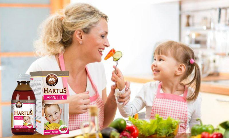 Siro Hartus Appetite là sự kết hợp độc đáo giữa các vị thảo dược và các vitamin quan trọng giúp tăng chuyển hóa và hấp thu dưỡng chất cải thiện chứng biếng ăn, giúp các bé thèm ăn tự nhiên và ăn ngon miệng, và ăn nhanh hơn.