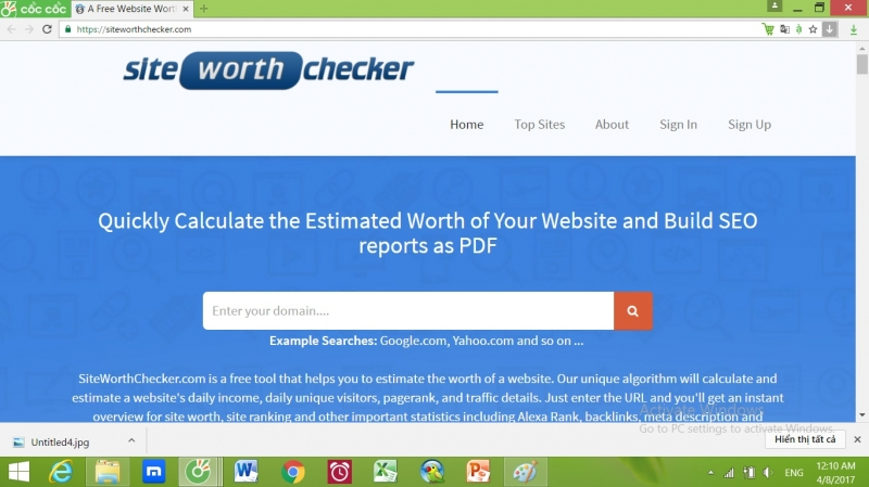 Site Worth Checker