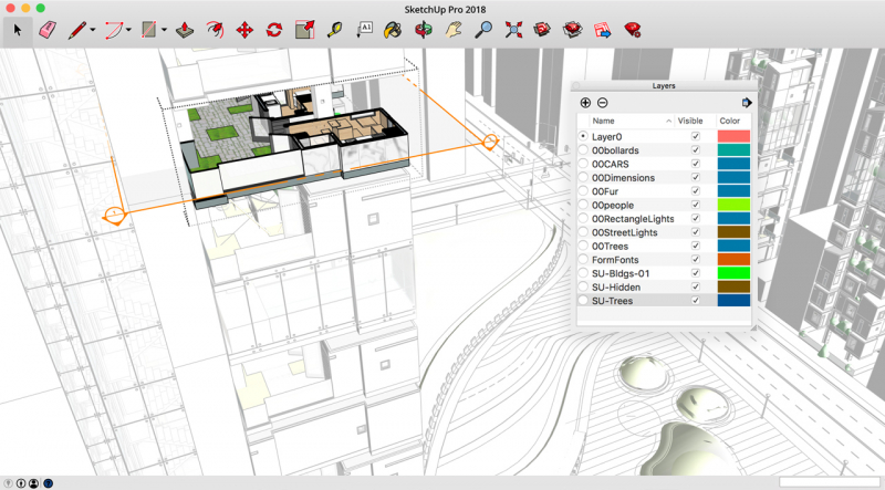Một màn hình thiết kế của Sketchup
