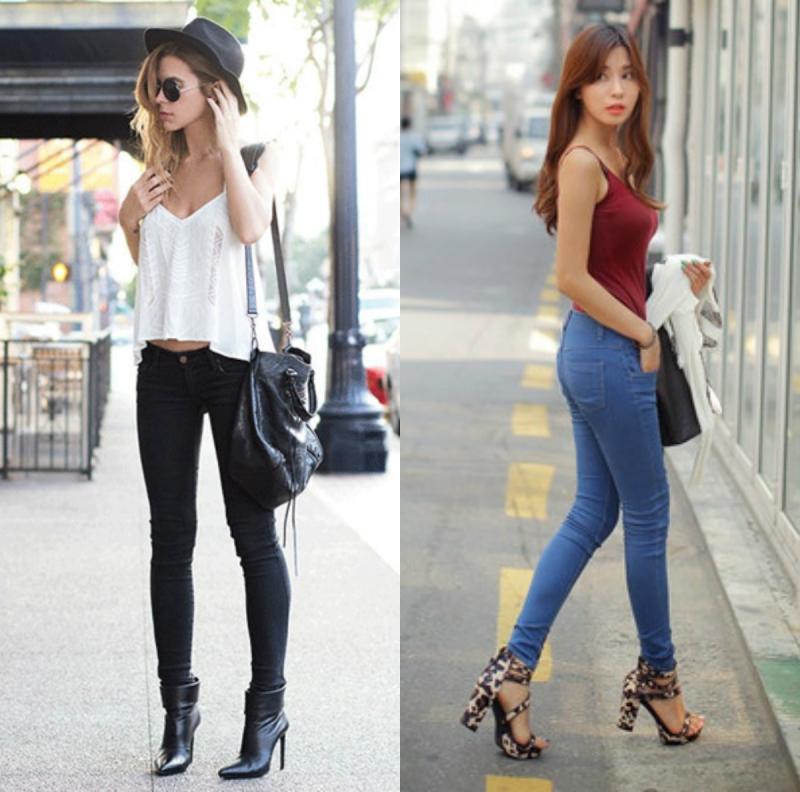 Một số gợi ý phối đồ tuyệt đẹp với áo hai dây và skinny jean