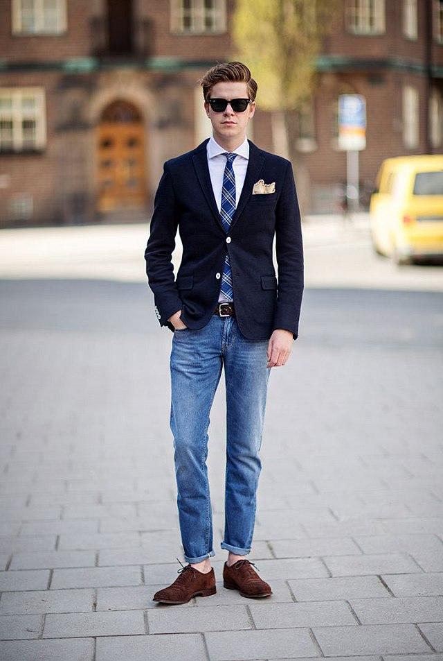 Phối áo vest nam + quần jean + sơ mi ấn tượng